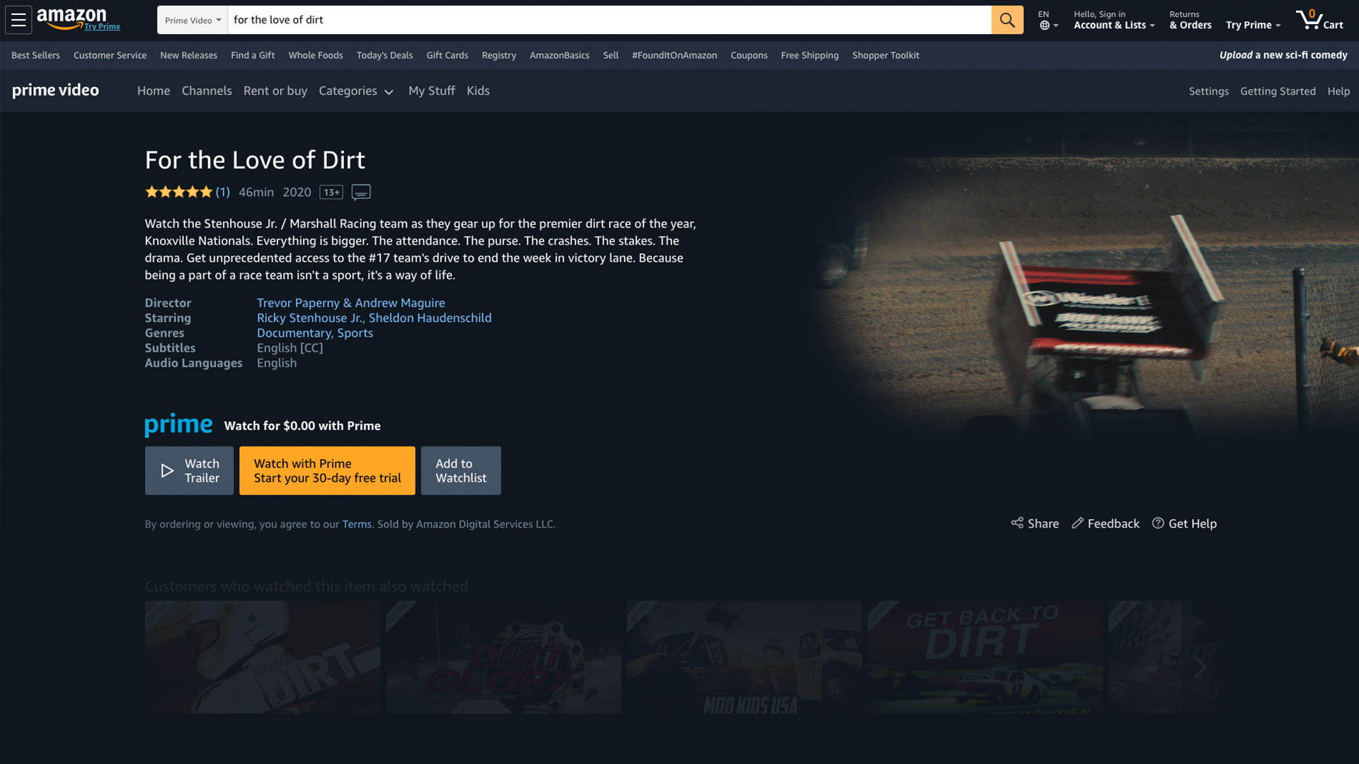 Featured length race car doc on amazon